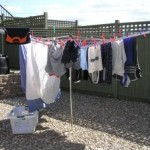 Drying clothes on the line!